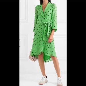 Ganni polka dot wrap dress S